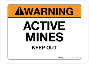 Warning - Active Mines - Wall Sign
