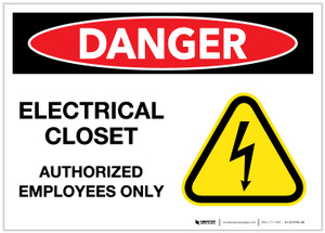 Danger: Electrical Closet - Authorized Employees Only with Graphic - Label