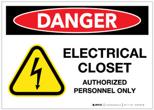 Danger: Electrical Closet - Authorized Employees Only with Hazard Graphic - Label