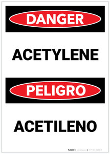 Danger: Acetylene (Bilingual Spanish) - Label