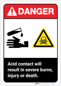 Danger: Acid Contact Will Result in Severe Burns ANSI Portrait - Label