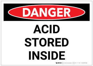 Danger: Acid Storage Inside - Label