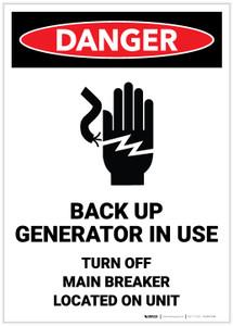 Danger: Back Up Generator In Use Turn Off Main Breaker Portrait - Label