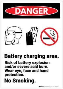Danger: Battery Charging Area Portrait - Label