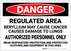 Danger: Beryllium Cancer Regulated Area - Label