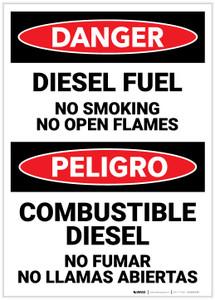 Danger: Bilingual Diesel Fuel No Smoking - Label
