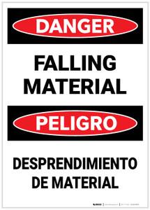 Danger: Bilingual Falling Material - Label