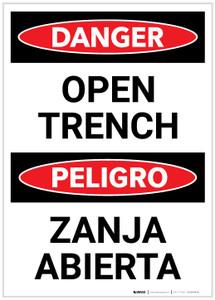Danger: Bilingual Open Trench - Label