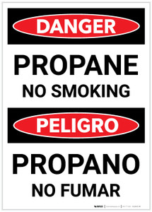 Danger: Bilingual Propane No Smoking - Label
