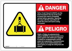 Danger: Bilingual Fall Or Crush Hazard ANSI - Label