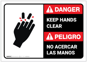 Danger: Bilingual Keep Hands Clear ANSI - Label
