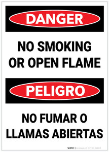 Danger: Bilingual No Smoking Open Flame - Label