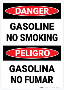 Danger: Bilingual Gasoline No Smoking - Label