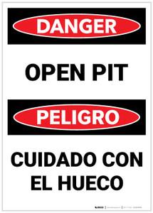 Danger: Bilingual Open Pit - Label