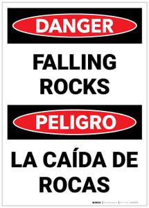 Danger: Falling Rocks (Bilingual Spanish) - Label