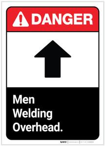 Danger: Men Welding Overhead ANSI - Label