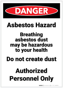 Danger: Asbestos Hazard Breathing Portrait - Label
