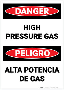 Danger: Bilingual High Pressure Gas - Label