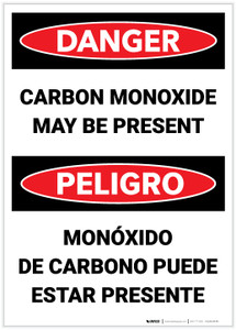 Danger: Carbon Monoxide May Be Present Bilingual - Label