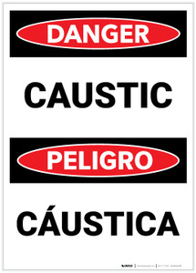 Danger: Caustic Bilingual - Label