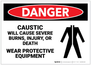 Danger: Caustic Will Cause Severe Burns/Wear PPE - Label