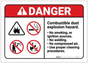 Danger: Combustible Dust Explosion Reminder ANSI - Label