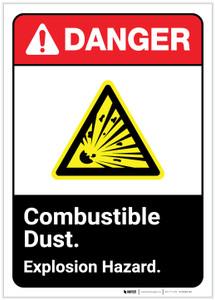 Danger: Combustible Dust Explosion Hazard ANSI Portrait - Label