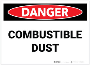 Danger: Combustible Dust Landscape - Label