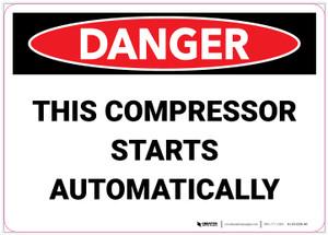 Danger: Compressor Starts Automatically - Label