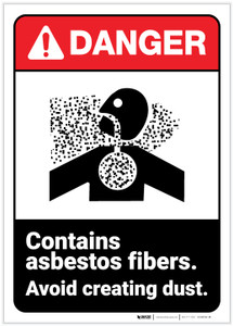 Danger: Contains Asbestos Fibers Avoid Creating Dust Portrait ANSI- Label