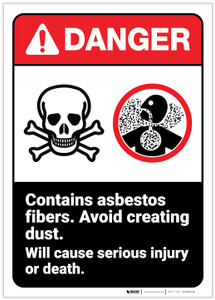 Danger: Contains Asbestos Fibers Cause Injury Portrait ANSI - Label