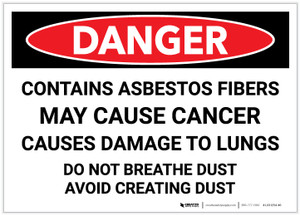 Danger: Contains Asbestos Fibers May Cause Cancer - Label