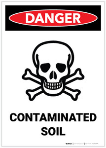 Danger: Contaminated Soil Portrait with Graphic - Label
