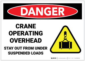Danger: Crane Operating Overhead Stay Out From Under Suspended Loads - Label