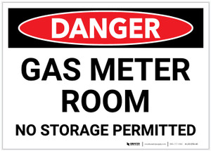 Danger: Gas Meter Room - No Storage Permitted - Label