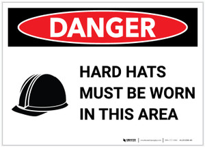 Danger: Hard Hats Must Be Worn with Icon - Label