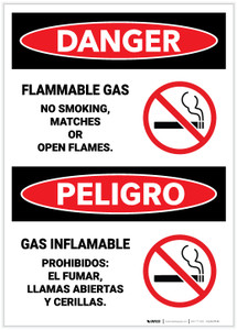 Danger: Flammable Gas/No Smoking, Matches, or Open Flame Bilingual - Label