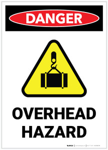 Danger: Overhead Hazard Portrait with Graphic - Label