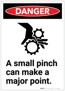 Danger: A Small Pinch Can Make a Major Point - Label