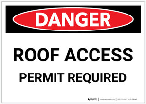 Danger: Roof Access Permit Required - Label