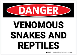 Danger: Venomous Snakes And Reptiles - Label