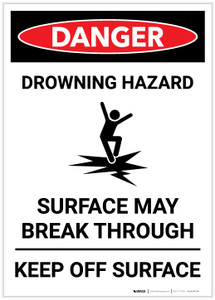 Danger: Drowning Hazards - Surface May Break Through - Label