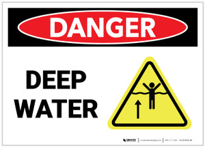 Danger: Deep Water Landscape with Graphic - Label
