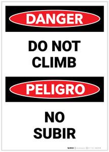 Danger: Do Not Climb Bilingual - Label