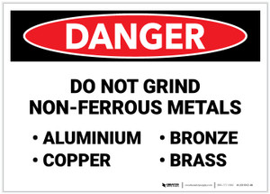 Danger: Do Not Grind Non Ferrous Metals Landscape - Label