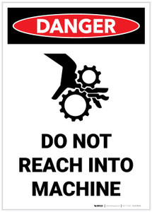 Danger: Do Not Reach Into Machine Portrait with Graphic - Label