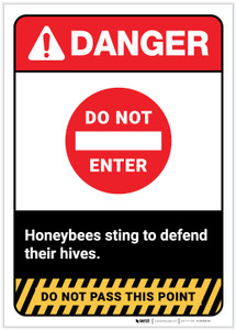 Danger: Do Not Enter/Honeybees Sting ANSI Portrait - Label