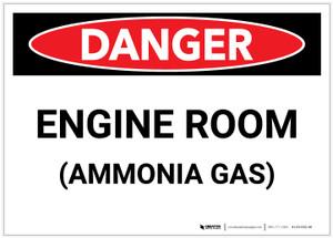 Danger: Engine Room Ammonia Gas - Label