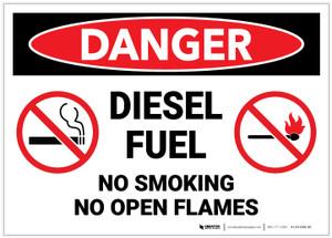 Danger: Diesel Fuel No Smoking Open Flames - Label