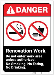 Danger: Renovation Work Do Not Enter ANSI - Label